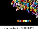 colorful english alphabet cube... | Shutterstock . vector #774078193