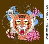 traditional japanese tiger face ... | Shutterstock .eps vector #774079129