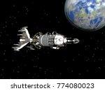 spaceflight 3d rendering   Shutterstock . vector #774080023