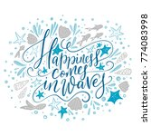 happiness cpmes in waves.... | Shutterstock .eps vector #774083998
