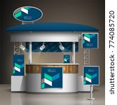 blue exhibition stand design...   Shutterstock .eps vector #774085720