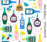 hand drawn various bottles of... | Shutterstock .eps vector #774087286