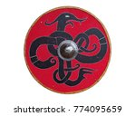 Stock photo a viking shield with a coiled serpent 774095659