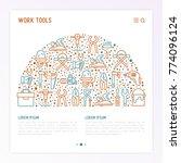 work tools concept in half... | Shutterstock .eps vector #774096124
