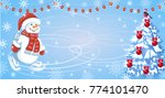 christmas card with funny... | Shutterstock .eps vector #774101470