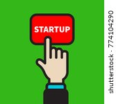 businessman pressing on red...   Shutterstock .eps vector #774104290