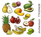 Set Fruits. Isolated On The...