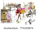 set of paris illustrations with ... | Shutterstock .eps vector #774105874