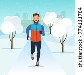 running in winter city park.... | Shutterstock .eps vector #774111784