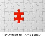 white jigsaw puzzle with unique ... | Shutterstock .eps vector #774111880
