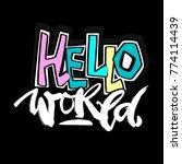 hello world  seamless hand...   Shutterstock .eps vector #774114439