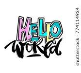 hello world  seamless hand... | Shutterstock .eps vector #774114934