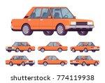 orange sedan set. saloon type... | Shutterstock .eps vector #774119938