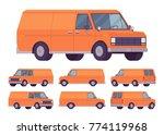orange van set. road vehicle...   Shutterstock .eps vector #774119968