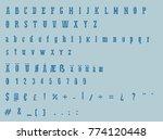blue typewriter alphabet  ... | Shutterstock .eps vector #774120448