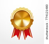gold medal with red ribbon ... | Shutterstock .eps vector #774121480