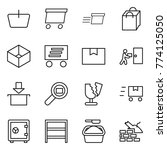 thin line icon set   basket ...   Shutterstock .eps vector #774125050