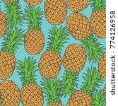 pineapple seamless pattern... | Shutterstock .eps vector #774126958