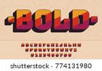 retro bold font 90's  80's with ... | Shutterstock .eps vector #774131980