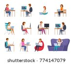 designer artist set with laptop ... | Shutterstock .eps vector #774147079