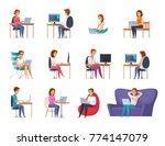 designer artist set with laptop ... | Shutterstock .eps vector #774147079