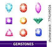 gemstones in different colors...   Shutterstock .eps vector #774149026