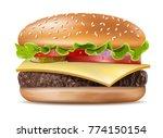 vector realistic hamburger... | Shutterstock .eps vector #774150154