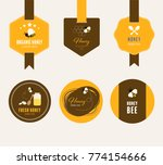 set of honey and bee labels and ... | Shutterstock .eps vector #774154666