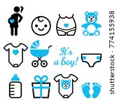baby boy shower vector icons... | Shutterstock .eps vector #774155938