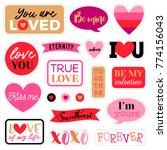 set of cute romantic sticker or ... | Shutterstock .eps vector #774156043