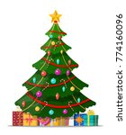 christmas tree decorated with... | Shutterstock .eps vector #774160096