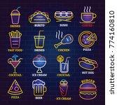 fast food neon glow shop sign... | Shutterstock .eps vector #774160810