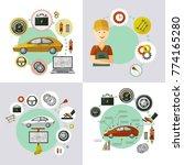 vector flat car service... | Shutterstock .eps vector #774165280