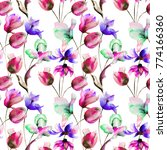 seamless wallpaper with tulips... | Shutterstock . vector #774166360