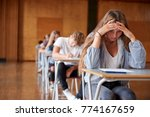 anxious teenage student sitting ... | Shutterstock . vector #774167659