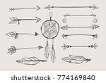 hand drawing set in boho style. ... | Shutterstock .eps vector #774169840