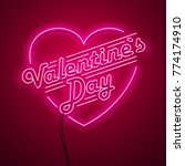 valentine s day neon sign.... | Shutterstock .eps vector #774174910
