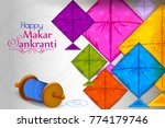 colorful kite flying for happy... | Shutterstock .eps vector #774179746