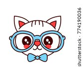 Cute Smiling Funny Hipster Cat...