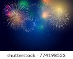 brightly colorful fireworks on... | Shutterstock .eps vector #774198523
