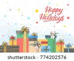 christmas and new year... | Shutterstock .eps vector #774202576