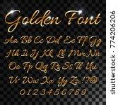 calligraphic golden letters.... | Shutterstock .eps vector #774206206