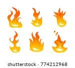 cartoon fire flames vector set. ... | Shutterstock .eps vector #774212968