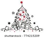 merry christmas. christmas tree ... | Shutterstock .eps vector #774215209