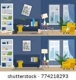 dirty and clean room. room... | Shutterstock .eps vector #774218293