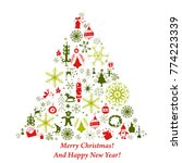 christmas tree card with flat... | Shutterstock .eps vector #774223339