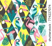 patchwork pattern with tropical ... | Shutterstock .eps vector #774227074