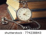 vintage watch on a chain on a... | Shutterstock . vector #774238843