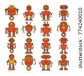 robot cartoon character icons... | Shutterstock .eps vector #774240010