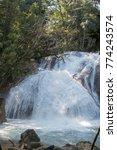 Small photo of AGUA AZUL WATERFALLS, MEXICO - JANUARY 30, 2015: FAMOUS AGUA AZUL WATERFALLS.